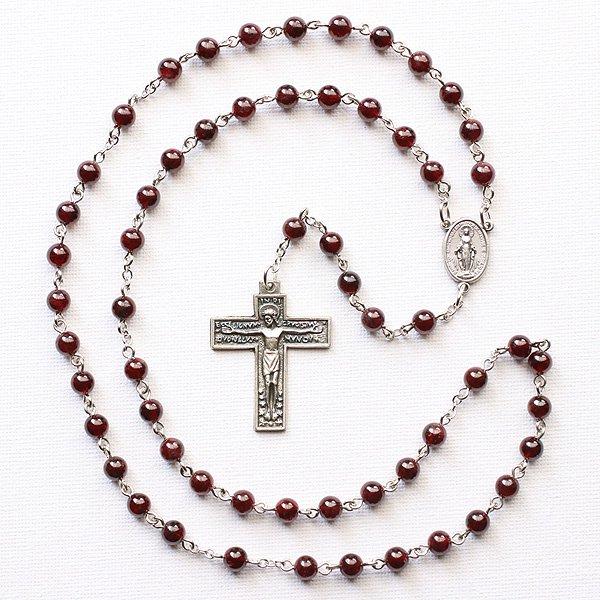 C様 オーダーメイド ガーネット 聖母マリアのロザリオ