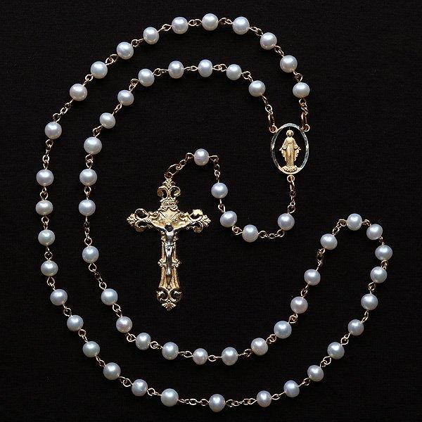 N様 オーダーメイド 淡水パール 聖母マリアのロザリオ