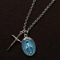 N様 オーダーメイド 十字架とブルーエナメル不思議のメダイのネックレス