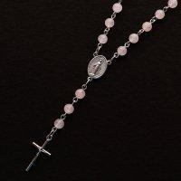 ローズクォーツ 聖母マリアのロザリオネックレス