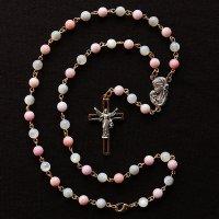 S様オーダーメイド クィーンコンクシェル・マザーオブパール 聖母子のロザリオネックレス