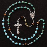 C様オーダーメイド ターコイズ・琥珀他 聖母マリアのロザリオ(シルバー925製)