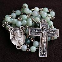 ビルマ翡翠・ブラッドストーン イエスの聖心のロザリオ