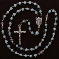 K様オーダーメイド アクアマリン 星彫り水晶 聖母マリアのロザリオ