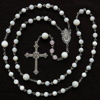 O様 オーダーメイド マザーオブパール ローズクォーツ 聖母マリアのロザリオ