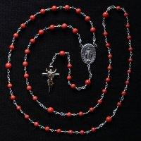 O様オーダーメイド 珊瑚 復活のイエスのロザリオ(シルバー925製)