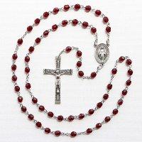 (1月)誕生月のロザリオ チェコビーズ ガーネット色 聖母マリアのロザリオ