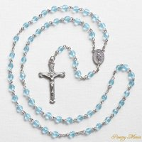 (3月)誕生月のロザリオ チェコビーズ アクアマリン色 聖母マリアのロザリオ