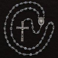 (4月)誕生月のロザリオ チェコビーズ クリスタル色 聖母マリアのロザリオ