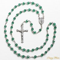 (5月)誕生月のロザリオ チェコビーズ エメラルド色 聖母マリアのロザリオ
