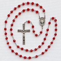 (7月)誕生月のロザリオ チェコビーズ ルビー色 聖母マリアのロザリオ