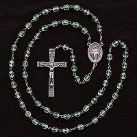 (8月)誕生月のロザリオ チェコビーズ ペリドット色 聖母マリアのロザリオ
