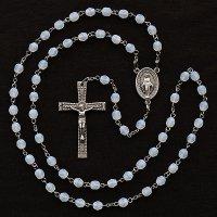 (10月)誕生月のロザリオ チェコビーズ オパール色 聖母マリアのロザリオ