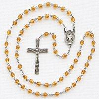 (11月)誕生月のロザリオ チェコビーズ トパーズ色 聖母マリアのロザリオ