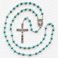 (12月)誕生月のロザリオ チェコビーズ ターコイズ色 聖母マリアのロザリオ