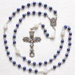 M様オーダーメイド ラピスラズリ イエスの聖心のロザリオ(シルバー925製)