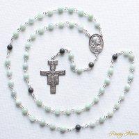 I 様オーダーメイド ビルマ翡翠・ブラッドストーン イエスの聖心のロザリオ(シルバー925製)