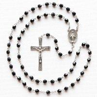 チェコビーズ ブラック色 聖母マリアのロザリオ