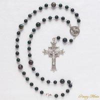 M様オーダーメイド ブラッドストーン 十字架を背負うイエスのロザリオネックレス(シルバー925製)