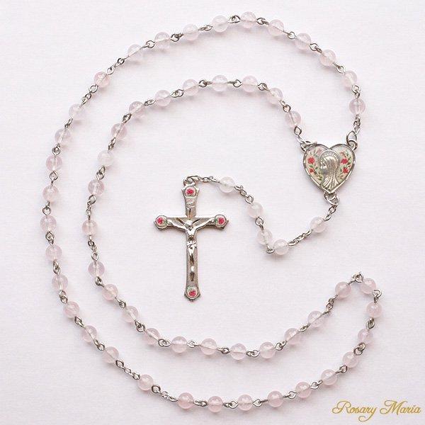 ローズクォーツ 聖母マリア 薔薇のロザリオ【送料無料】