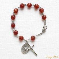 【8mm玉】薔薇彫りレッドアゲート 聖母マリアのロザリオブレスレット