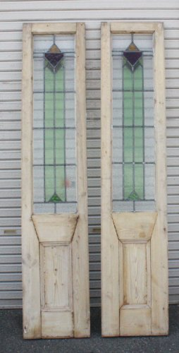 ステンドグラスパネル2枚組dr38a 幾何学模様 パイン材の木枠が希少