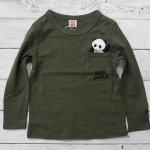 【INDIE JUNGLE】インディジャングル アメカジ でんぐりパンダ 長袖Tシャツ カーキ (191102-KA)
