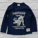 【CHANNEL】チャンネル 恐竜 ティラノサウルス 長袖Tシャツ ネイビー (8404-NV)