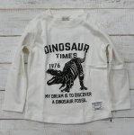 【CHANNEL】チャンネル 恐竜 ティラノサウルス 長袖Tシャツ オフシロ (8404-OW)