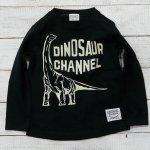【CHANNEL】チャンネル 恐竜 ブラキオサウルス 長袖Tシャツ ブラック (8415-BK)
