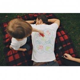 【パパ&キッズ】半袖Tシャツ「Car Play Mat」セット:白 (親子おそろい服)