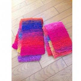 【キッズ】キッズとパパの手編みミニマフラー・ピンク系(親子おそろいマフラー)