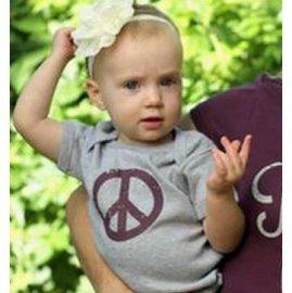 【ベビー】半袖ロンパース「Peace Baby!」 (親子リンクコーデ)