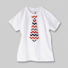 【キッズ】半袖ネクタイTシャツ「CHEVRON TIE」ホワイト(親子ペア服)