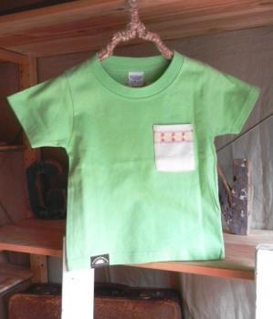 スウェーデン刺繍キッズTシャツ【100cm(3~4歳)】『ライムグリーン×刺繍』【Tシャツ、半袖】キッズ夏メイドインジャ…