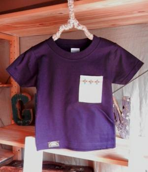 スウェーデン刺繍キッズTシャツ【100cm(3~4歳)】『パープル×刺繍』【Tシャツ、半袖】キッズ夏メイドインジャ…