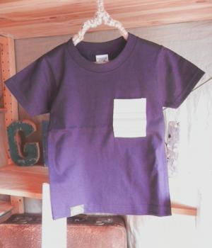 スウェーデン刺繍キッズTシャツ【110cm(4~5歳)】『パープル×刺繍』【Tシャツ、半袖】キッズ夏メイドインジャ…
