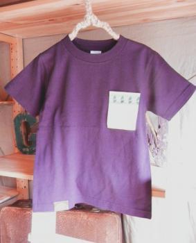 スウェーデン刺繍キッズTシャツ【120cm(5~6歳)】『パープル×刺繍』【Tシャツ、半袖】キッズ夏メイドインジャ…