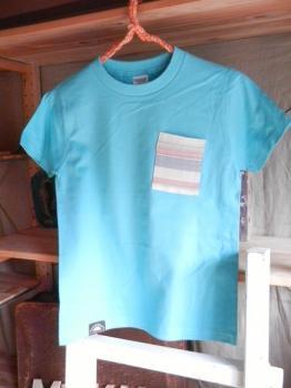 スウェーデン刺繍キッズTシャツ【 140cm(7~8歳)】『ターコイズ×刺繍』【Tシャツ、半袖】キッズ夏メイドインジャ…