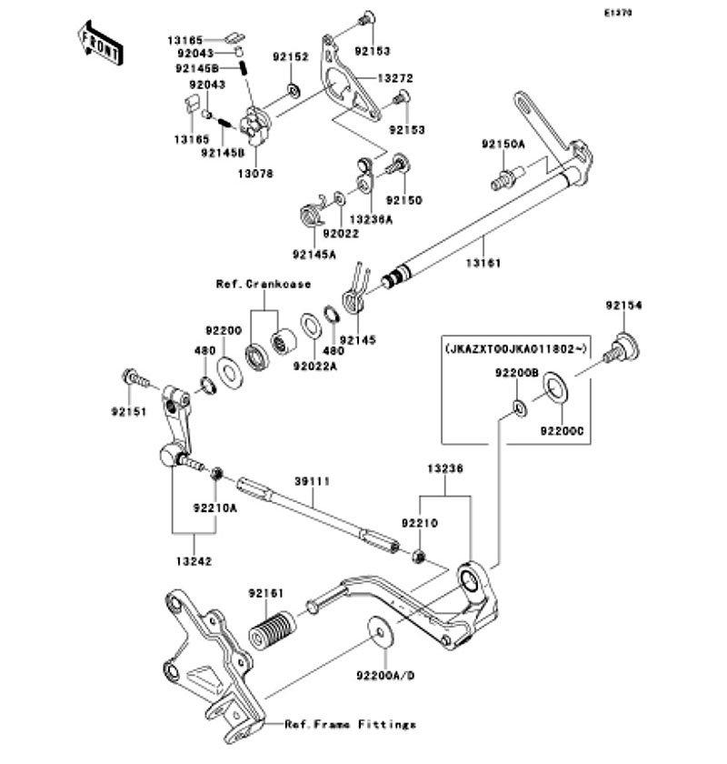 Gear Change Mechanism Ninja ZX-10R ABS 2012(ZX1000KCF