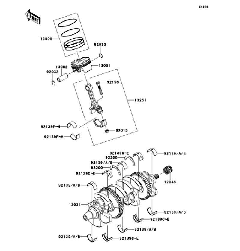 Crankshaft/Piston(s) Ninja ZX-10R ABS 2011(ZX1000KBF