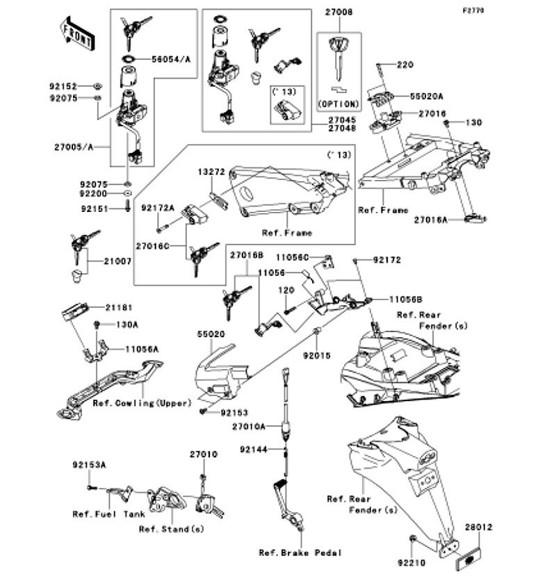 Ignition Switch Ninja ZX-14R ABS 2012(ZX1400FCF