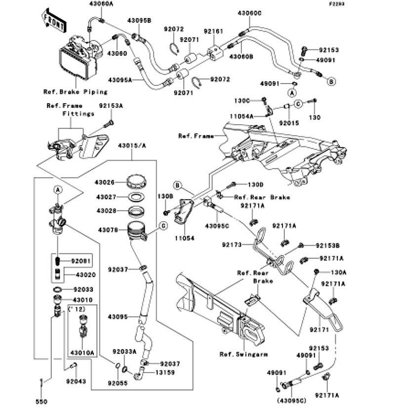 Rear Master Cylinder Ninja ZX-14R ABS 2012(ZX1400FCF