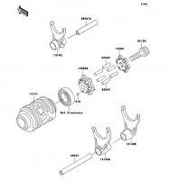 ギヤチェンジドラム/シフトフォーク KX125 2002(KX125-L4) - Kawasaki純正部品