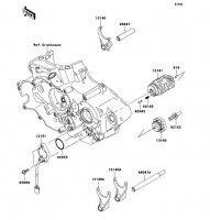 ギヤチェンジドラム/シフトフォーク KLX450R 2008(KLX450A8F) - Kawasaki純正部品