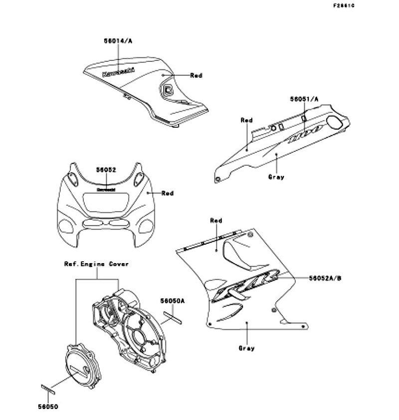 Decals(Red/Gray)(ZX1100-D9) ZZ-R1100 2001(ZX1100-D9