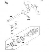 Gear Change Drum/Shift Fork ZZ-R1100 1999(ZX1100-D7) - Kawasaki純正部品