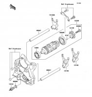 Gear Change Drum/Shift Fork Ninja ZX-9R 2002(ZX900-F1) - Kawasaki純正部品