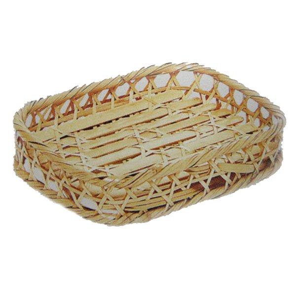 竹食器 白竹六ツ目高台盛角長 6-6