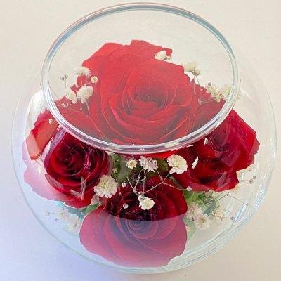 赤いバラのボトルフラワー